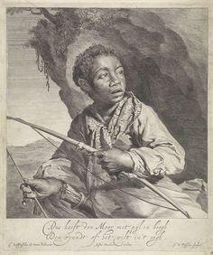 Jan de Visscher | Boogschutter, Jan de Visscher, Justus Danckerts, 1650 - 1701 | Een jonge Afrikaan met een pijl en boog voor een rots. Op de achtergrond een landschap.