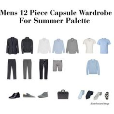 Mens 12 Piece Capsule Wardrobe For Summer Palette