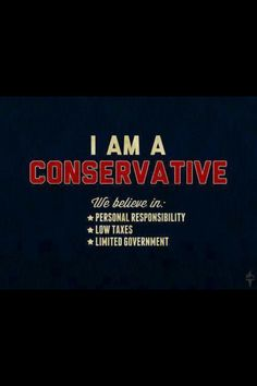I am Conservative! I believe in; personal responsibility, low taxes, limited government. #legit