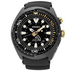 Men's Seiko Prospex Kinetic Diver Black Silicone Strap Watch