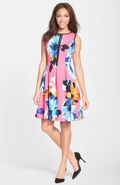 Vince Camuto Floral Print Scuba Fit & Flare Dress available at #Nordstrom
