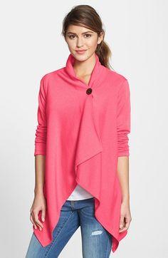 Bobeau Asymmetrical Fleece Wrap Cardigan (Regular & Petite) #style