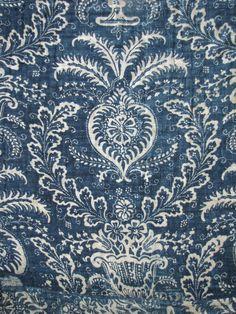 Antique French 18th century Indigo Blue resist quilt ~