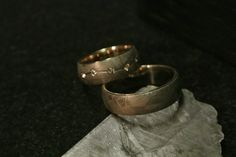meteorite rings , white gold, diamonds