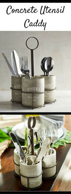 Love this Concrete Utensil Caddy! Would look great in a rustic farmhouse kitchen! #ad #rusticdecor #rustic #rusticfarmhouse #rustickitchen #kitchenorganization #kitchens #farmhouse #farmhousestyle #farmhousekitchen