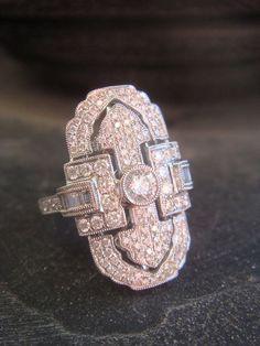 2.65 ct Art Deco Diamond Ring 18K White Gold by JennKoDesign