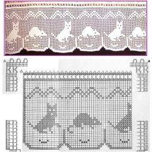 Crochet Curtain Patterns Part 7 - Beautiful Crochet Patterns and Knitting Patterns Crochet Curtain Pattern, Crochet Cat Pattern, Crochet Curtains, C2c Crochet, Curtain Patterns, Crochet Home, Thread Crochet, Crochet Stitches, Crochet Boarders