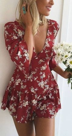 #summer #musthave #outfits |  Romantic Red Playsuit