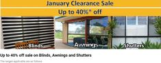 January Clearance Sale! Up to 40%* off! Contact us to know the range of available colours for this special.  You can either visit our showroom or a sale representative can go to your home to give you a free in-home measure & quote sales@apolloblinds.com.au or call us 132 899