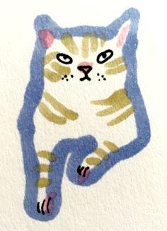 Cat by Marie Åhfeldt, Mås Illustra. I Love Cats, Crazy Cats, Logo Esport, Children's Book Illustration, Cat Illustrations, Cat Drawing, Cat Art, Art Inspo, Character Design