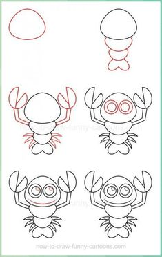 How to draw a lobster Easy People Drawings, Drawing People, Easy Drawings, Drawing Lessons For Kids, Art Drawings For Kids, Art For Kids, Drawing Techniques, Drawing Tips, Drawing Sketches
