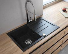 Lavello Onyx Granite Composite L x W Drop-In Kitchen Sink Faucet Drillings: 1 hole Granite Kitchen Sinks, Drop In Kitchen Sink, Kitchen Sink Design, Kitchen Sink Faucets, Granite Composite Sinks, Composite Kitchen Sinks, Wood Countertops, Art Deco Design, Home Decor Styles
