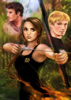 Katniss, Peeta, and Gale in Hunger Games.