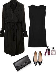 """Black"" by feryfery on Polyvore - I like the coverall, the rest is very classy and I like, but not really my style"