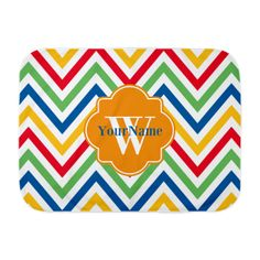 Modern Chevron Custom Monogram Baby Blanket
