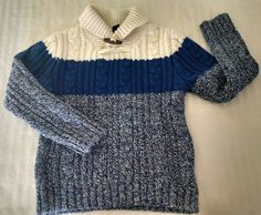 Baby Gap Boys Sweater 5 Blue Ivory Cableknit Chunky Cowl Toggle Wool Cotton  #BabyGap #Pullover #DressyEverydayEaster