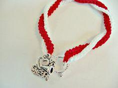 Cheerleading Friendship Bracelet by Sports Jewelry Studio on Etsy.com.  Hand crocheted.  $8.50.  etsy.com/shop/sportsjewelrystudio.