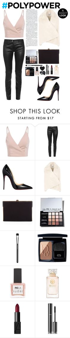 """""""What's Your Power Outfit?"""" by omgitssabby ❤ liked on Polyvore featuring Balenciaga, Christian Louboutin, STELLA McCARTNEY, BCBGMAXAZRIA, Sonia Kashuk, MAC Cosmetics, Christian Dior, ncLA, Tory Burch and NARS Cosmetics"""
