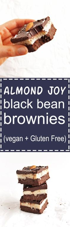 Almond Joy Black Bean Brownies - A fudge-y brownie layer topped with a sticky coconut layer, topped with a ganache layer and almonds. This recipe is amazingly delicious! It's rich, satisfying, and surprisingly healthy - healthy fats and fiber! Gluten Free/Vegan/Refined Sugar Free   robustrecipes.com