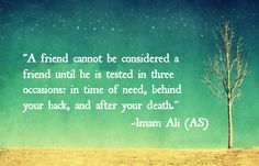 A friend cannot be considered a friend until he is tested in there occasions: in time of need, behind your back, and after your death. -Imam Ali (AS)