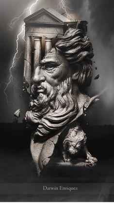 Zeus Tattoo, Poseidon Tattoo, Tattoo Sleeve Designs, Sleeve Tattoos, Greek Mythology Tattoos, Greek Statues, Roman Sculpture, Grey Tattoo, Greek Gods