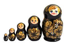Matriochka Traditionnelle 5 pièces noir