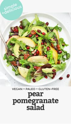 Easy Salads, Healthy Salad Recipes, Vegetarian Recipes, Clean Eating Recipes, Healthy Eating, Healthy Food, Thanksgiving Side Dishes, Thanksgiving Appetizers, Pomegranate Salad