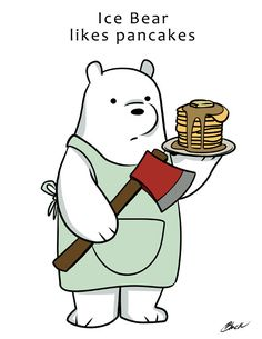 We Bare Bears Ice Bear likes Pancakes Fanart by BlacksSideShow
