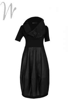 Dress Vina, black knee length dress, the top fabric is a stretchy jersey, 90% viscose and 10% elastane. The bubble skirt is 78% cotton and 22% polyester. Comes with a separate tube scarf. http://www.walkersofpottergate.com/product/7253/xenia-design-dress-vina/?selected_category_id=453