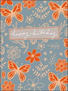 Vibrant floral and butterfly birthday card with a contemporary neon palette