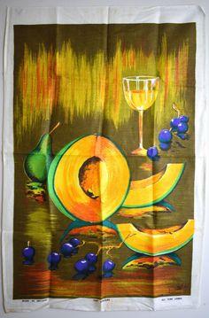 Fruits Grapes Wine Tea Towel - Vintage Still Life Oil Painting Style - Irish Linen