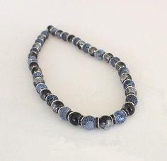 Colliers - schwarz-weiss Halskette mit Achat,Strass,Glaskugel - ein Designerstück von clavelito-blanco bei DaWanda