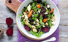 Lun salat med rodfrugter og linser