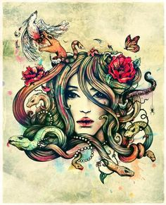 Medusa.  tattoo I am getting for my brothers girl friend who died just yesterday.  She had this on her phone when I was looking through her phone Saturday she said she wanted to get this tattoo on her arm.  For her I am getting this tattoo.  Rest In Peace Baby girl ;) aka Renee<3
