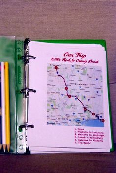 HOLY SMACK! I'm totally doing this for Jeremiah for the LONG 5 hr trip back home with us! =) We are gonna have fun! Its also a good keepsake for dad once he goes back home.....   I'll do one for our Tulsa birthday trip too! EEEeeeKKKk what a fun summer its gonna be!   Road trip Binder: Love these kind of fun ideas - MilitaryAvenue.com