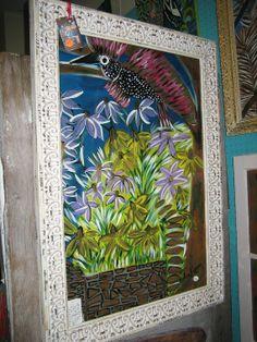 Folk Art Painting Wild Bird handmade in Georgia by TackyMonkey, $175.00