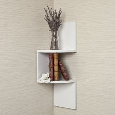 Laminated Corner Shelf in White Finish $16.08 #bestseller