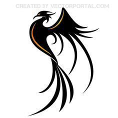 Abstract decorative stylish phoenix silhouette placed as in side view layout…