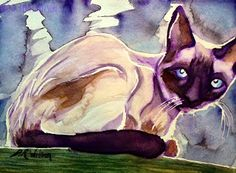 """""""Baby; Gran's Hateful Cat"""" Watercolor D. Renée Wilson"""