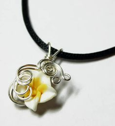 Perfume Pendant - PREMADE - Aromatherapy Wire Wrapped White Polymer Clay Tropical Plumeria Flower by Nixcreations, $20.00