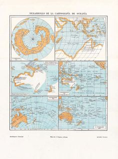 Plate About The Development Of Cartography In Oceania It Depicts Six Maps Of Oceania