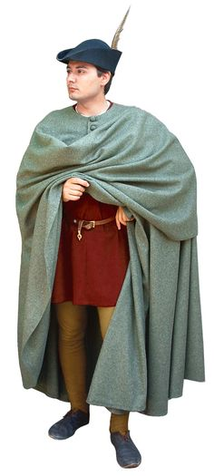 Mantle thirteenth century, Medieval - Medieval Clothing - Medieval Costume (Man) - Mantle wool spread throughout Europe in the middle and upper classes.