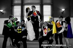 Superhero Wedding Photo. Im loving this idea more and more every day :)