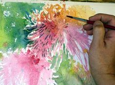 painting leaves and flowers, watercolor and pencil, painting flower petals, watercolor flower lesson, blending watercolor, free watercolor demo