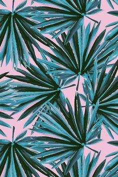 Tropical Palm Leaves in Botanical Green + Pink Conch by elliottdesignfactory - Hand painted palm leaves in emerald and green on a pink background on fabric, wallpaper, and gift wrap. Beautiful painterly tropical pattern in green and pink. #palms #wallpaper #homedecor #decorate #home #makeit #decorateit