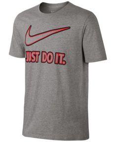 Nike Men'S Embroidered Just Do It T-Shirt, Dark Grey Heather