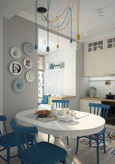 So fresh & light. The blue is beautiful & freestanding units are great
