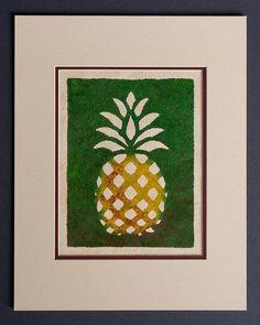 Pineapple - Hala  Kahiki - Hawaiian Design  on Tapa Cloth - Matted and READY TO FRAME