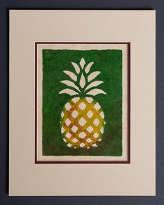 Pineapple - Hala  Kahiki - Hawaiian Design  on Tapa Cloth - Matted and READY TO FRAME