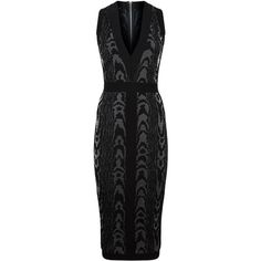 Balmain Jacquard Bodycon Midi Dress (6.095 BRL) ❤ liked on Polyvore featuring dresses, zip midi dress, deep v neck dress, panel dress, low v neck dress and jacquard midi dress